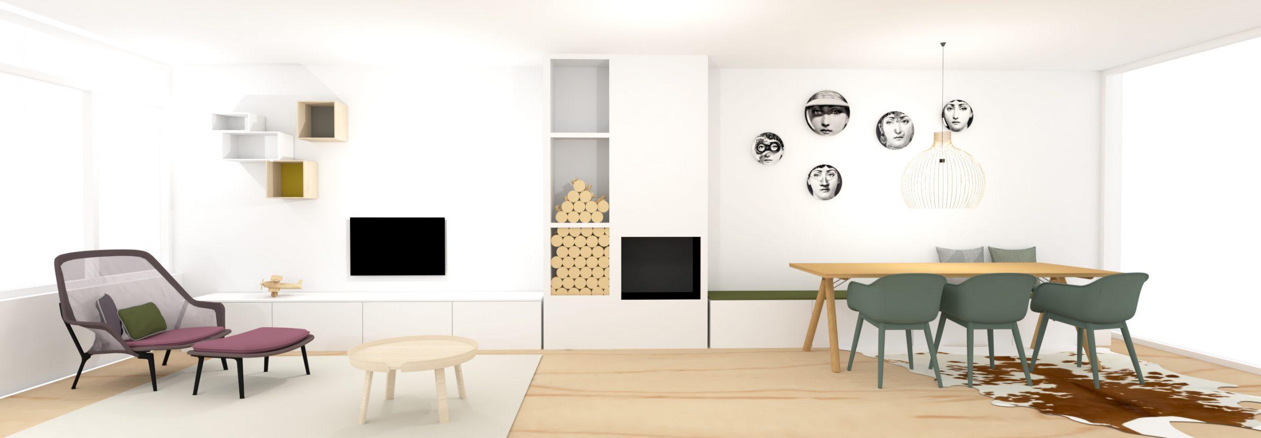 Interieurontwerp woonkamer met haard en lange zitbank en gekleurde meubels