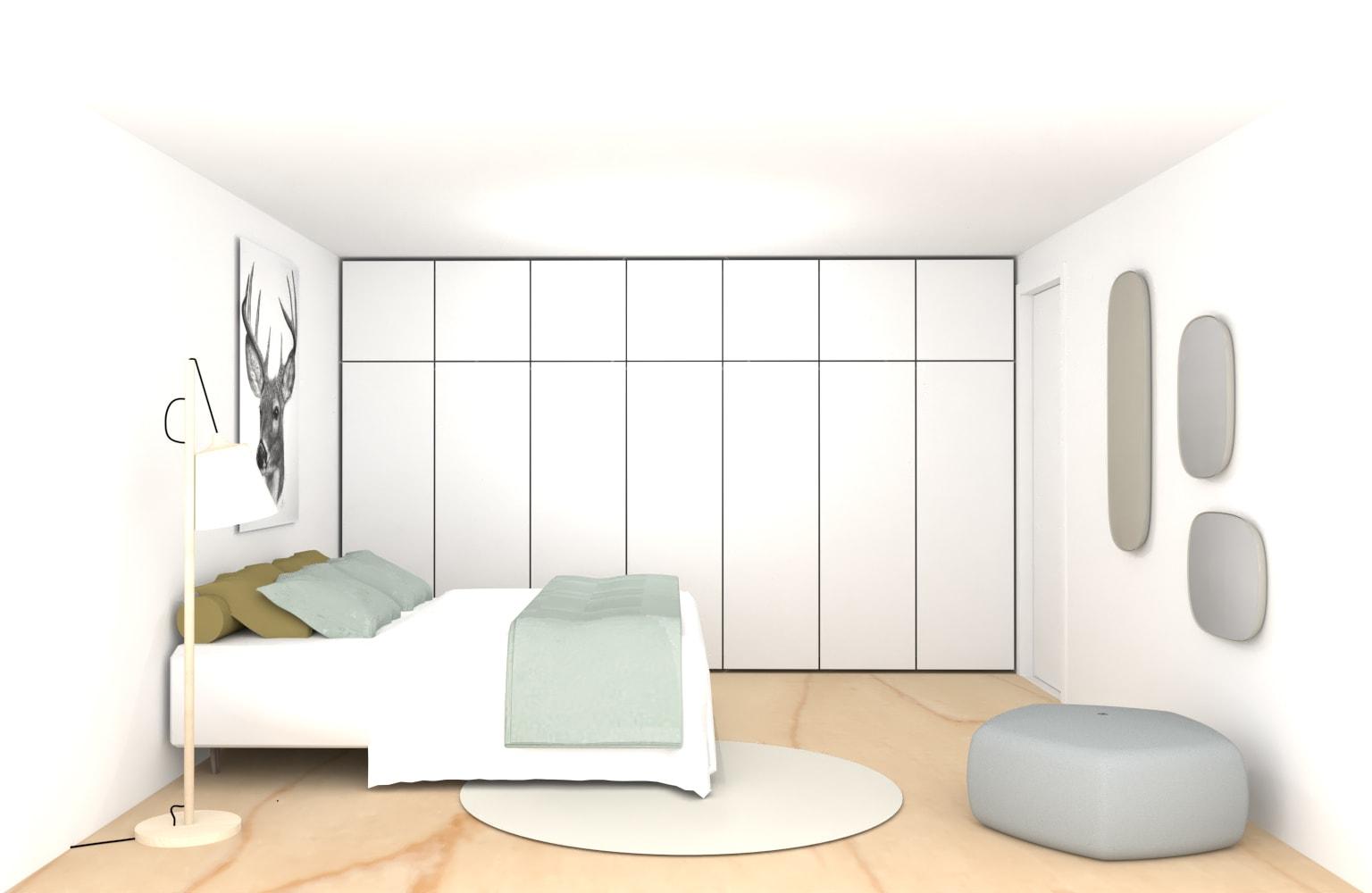 Interieurontwerp slaapkamer met inbouwkast over hele breedte op maat
