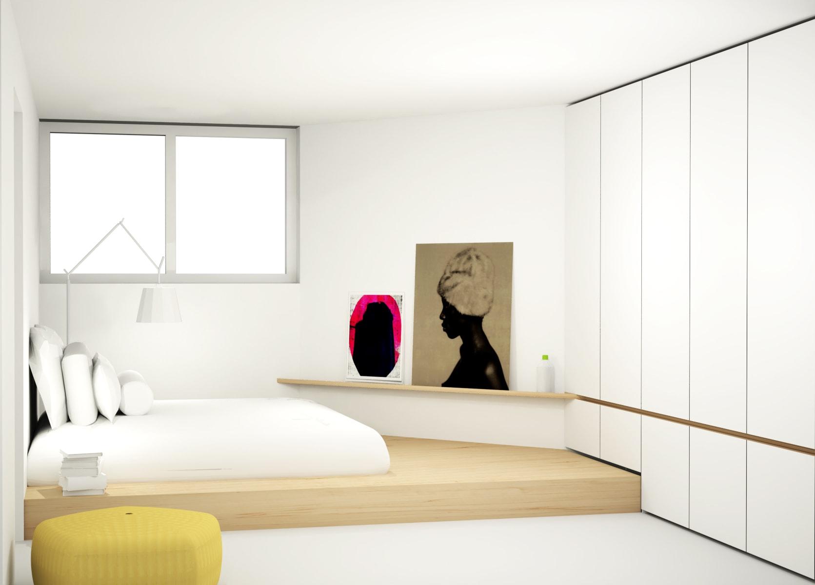 Lichte slaapkamer met stijlvolle kastenwand