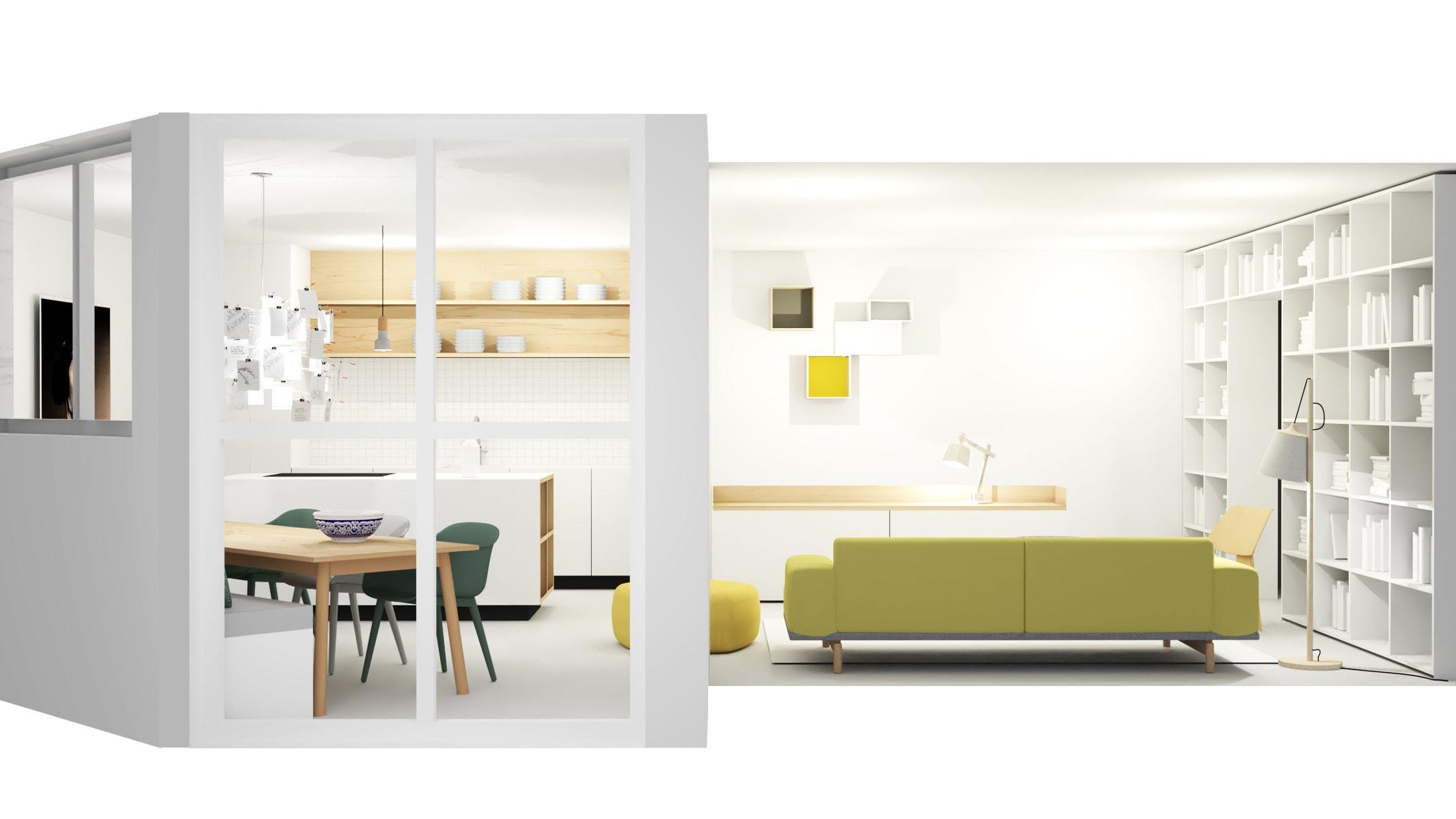 Ruimtelijke woonkamer en keuken in appartement Amsterdam