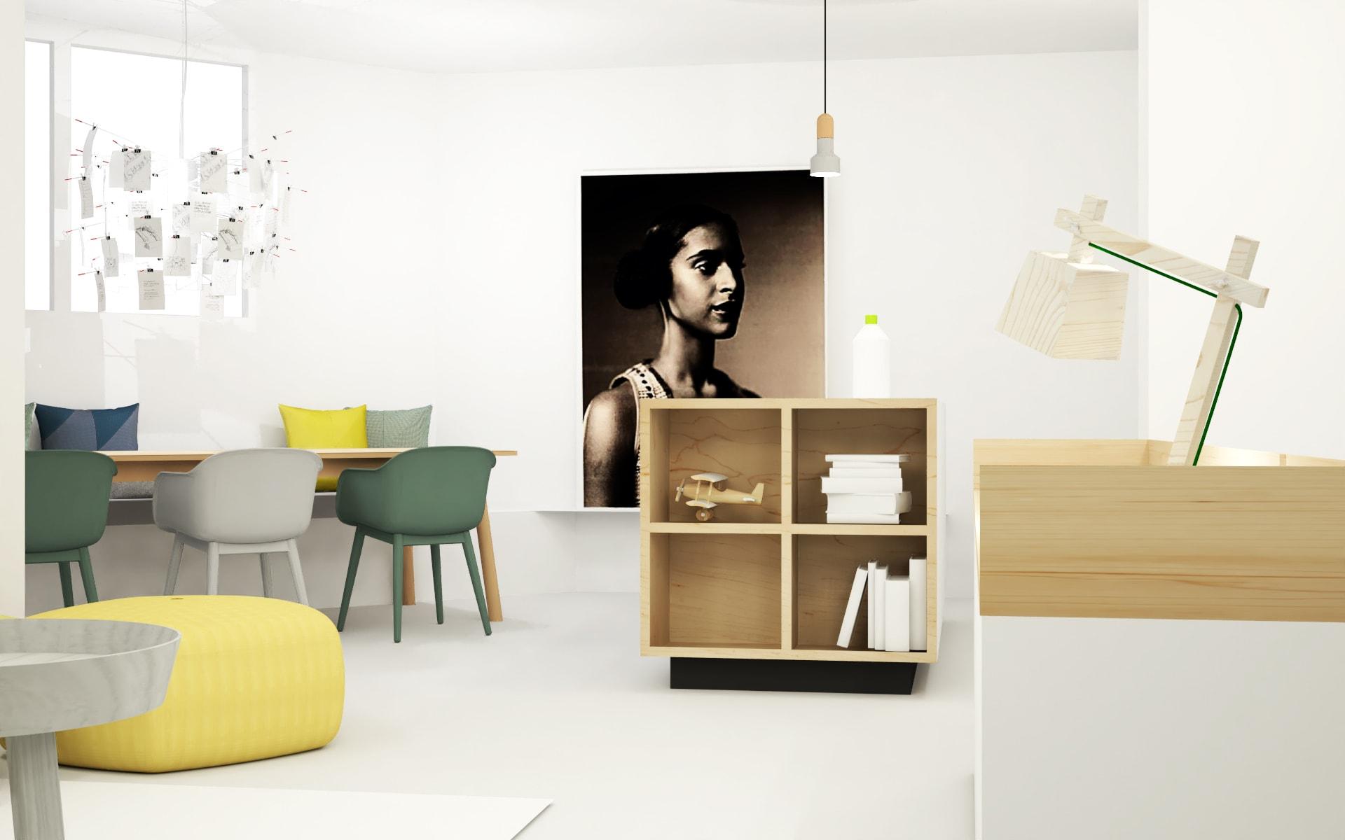 Open keuken met kookeiland en open vakken in modern appartement Amsterdam