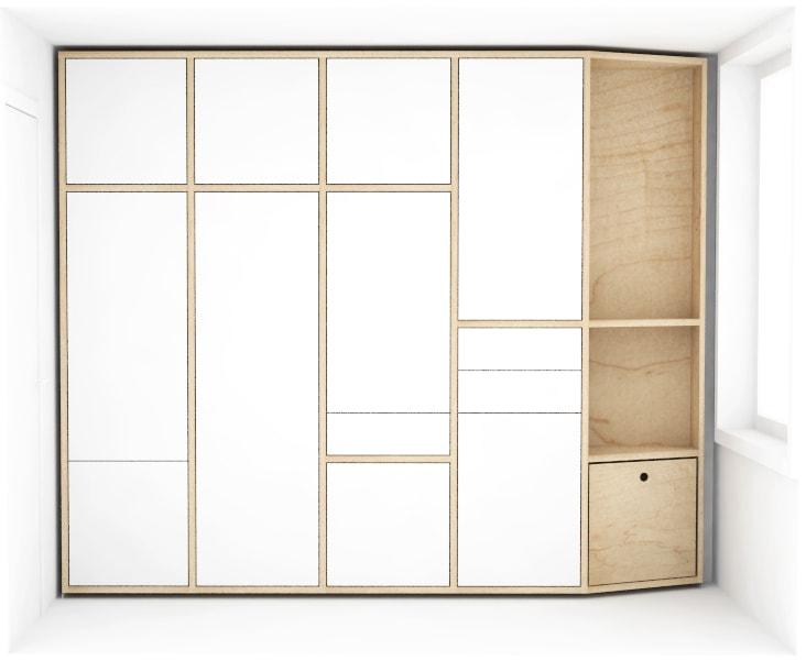 Maatwerk inbouwkast met witte deuren en houten details