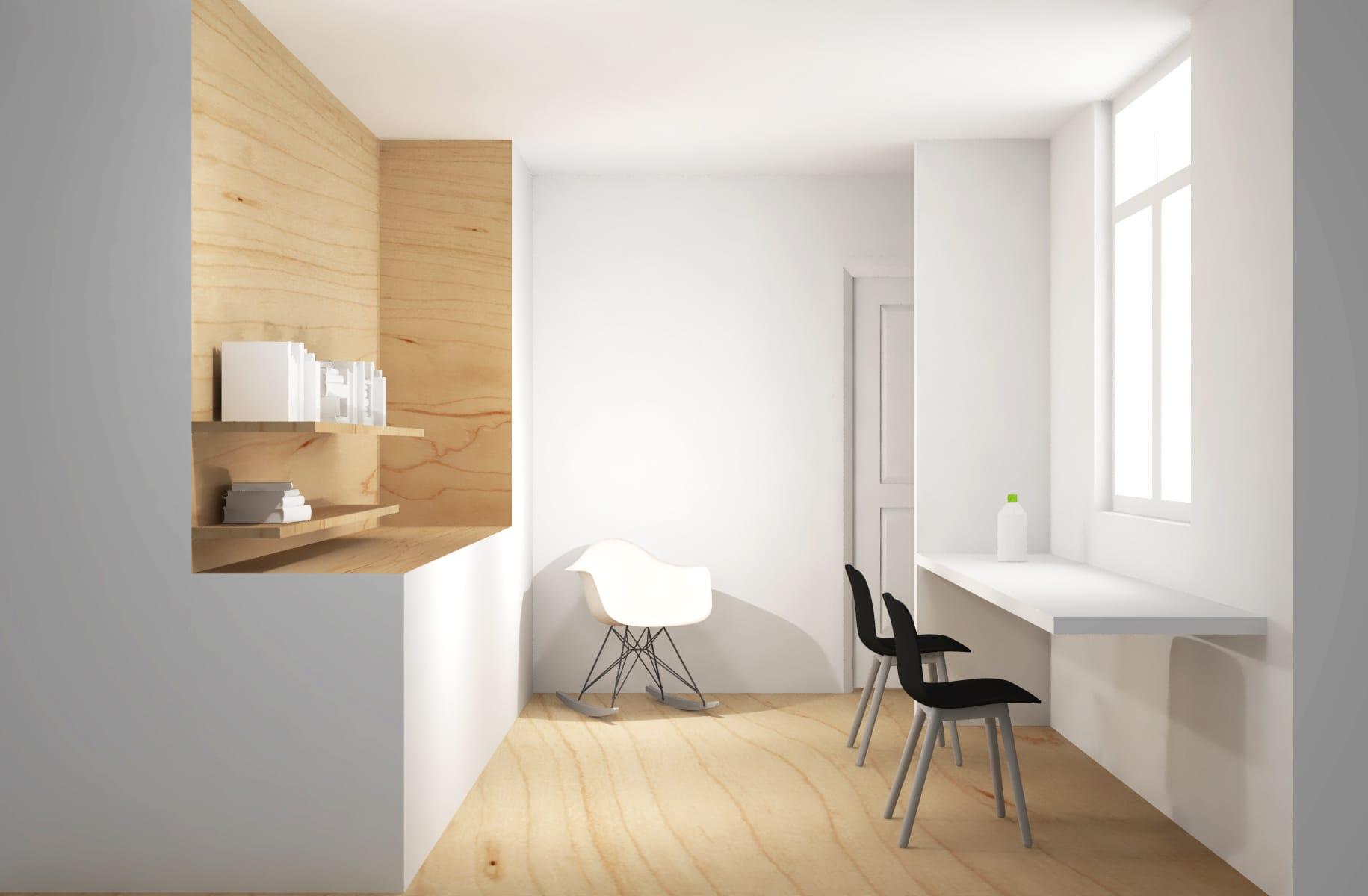 Strak interieurontwerp werkkamer met inbouwkast en bureau voor raam