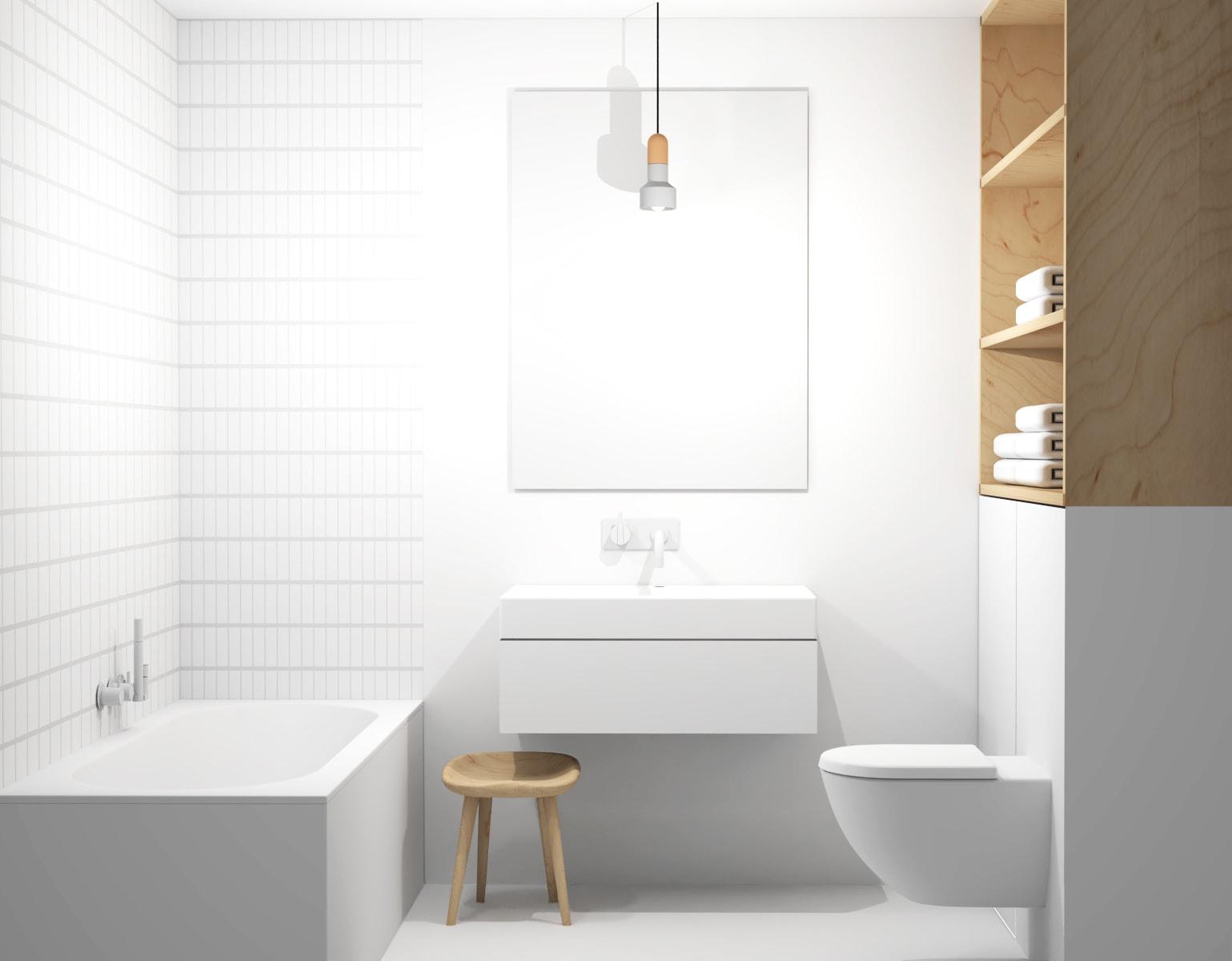 Interieur witte badkamer met kleine tegels en natuurlijk houten kast