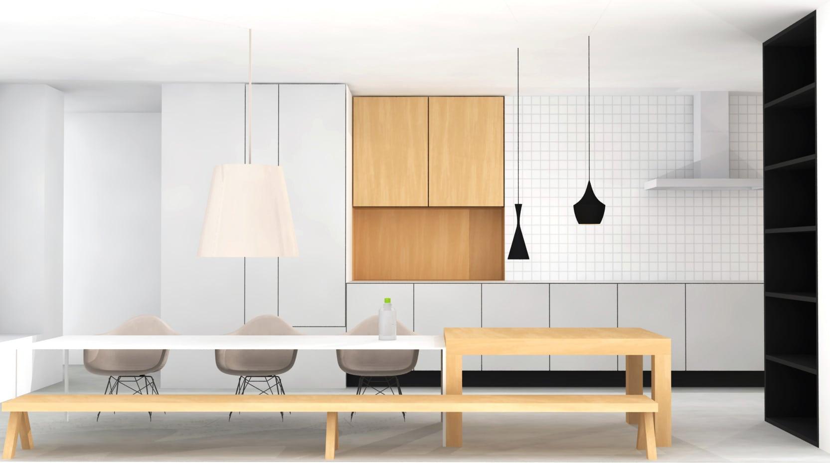 Ontwerp woonkeuken met witte tegelwand en houten sfeervolle elementen