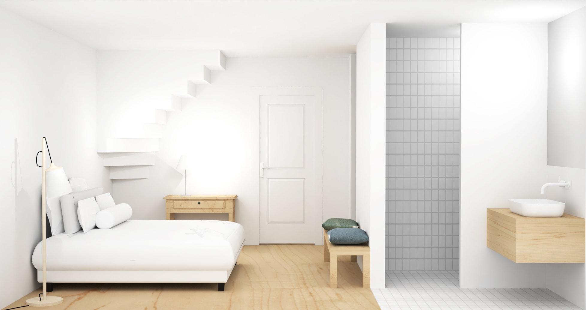 Ontwerp slaapkamer met open badkamer