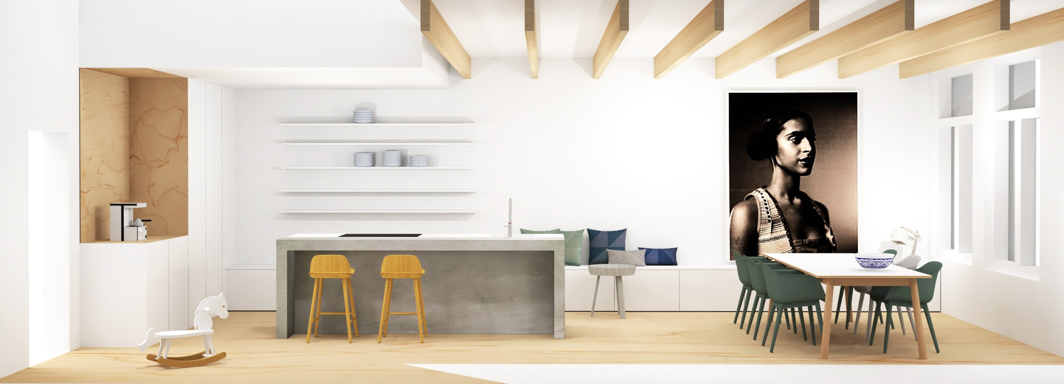 Ontwerp woonkeuken met betonnen kookeiland