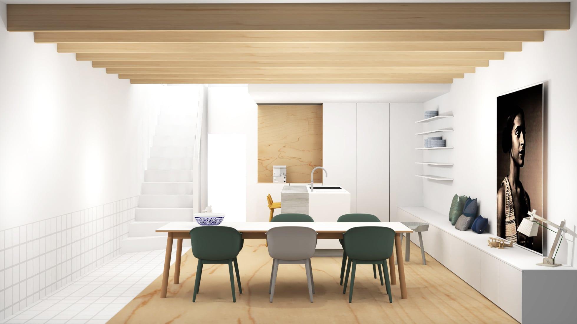 Ontwerp woonkeuken met houten balken en veel ruimte