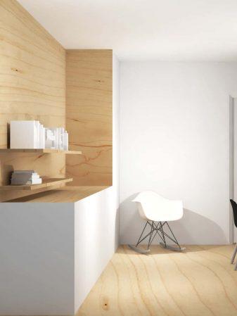 werkkamer met houten kast