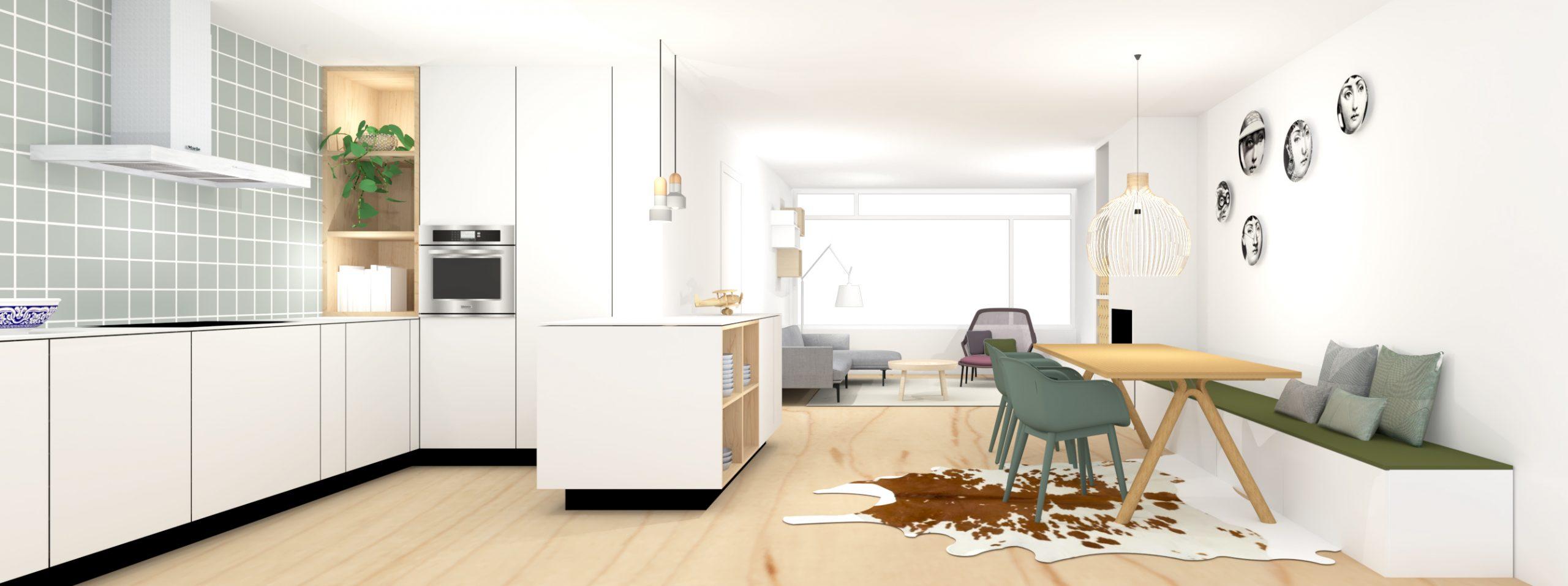 Ontwerp woonkamer met lichte open keuken, groene tegeltjes en lange bank bij eettafel