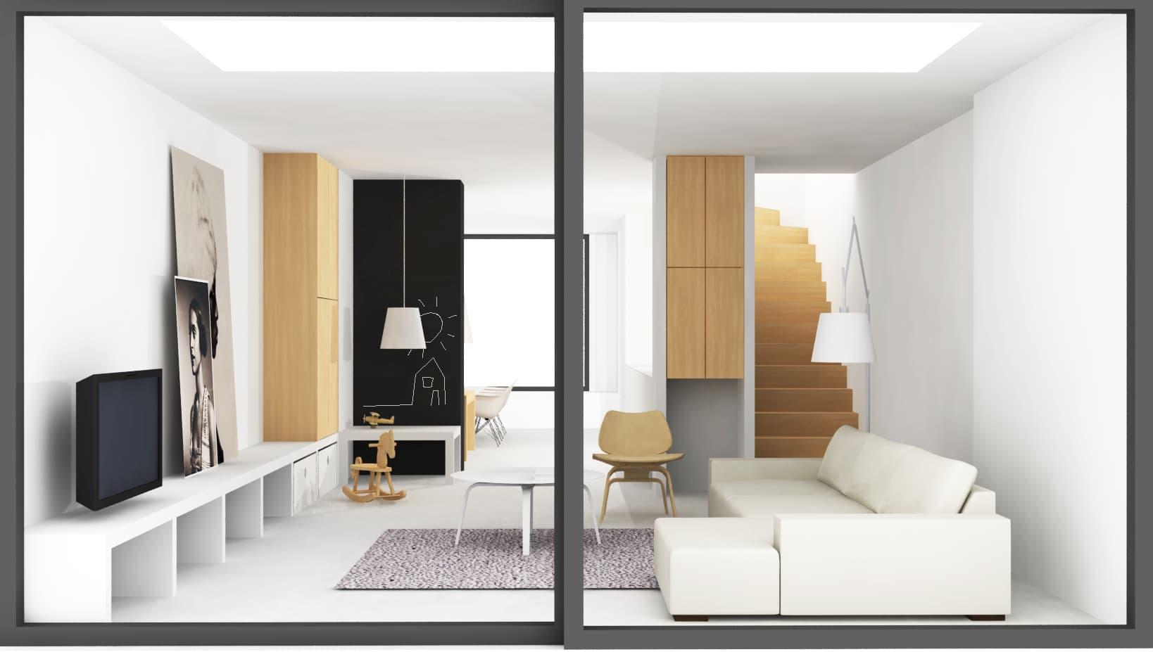 Interieurontwerp sfeervolle woonkamer met houten details en speelhoek voor de kinderen